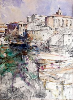 Gordes, Provence - watercolour and graphite on paper  wayne roberts
