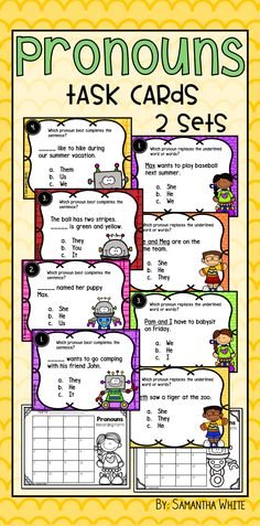 """Here is a fun way to practice pronouns with your students! This resource includes 2 sets of task cards using the pronouns he, she, it, we, us, you, they, them, her, him, and his. Task cards are a wonderful tool for independent practice, a game of SCOOT, Kagan activities, early finishers, centers, and even assessments. Another fun way to use these cards is to put them around the room, give them a clipboard, and have them """"Work the Room"""" moving from card to card (in no particular order)."""