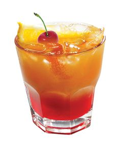Jack Frost Glow: 2 oz. Jack Daniel's Whiskey, 2 oz. orange juice, 2 oz. cranberry juice, and a dash of peach schnapps. Combine all ingredients over ice in old-fashioned glass. Garnish with maraschino cherry and fresh orange slice.