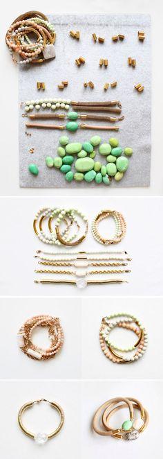 elegant natural stone color bracelets