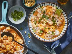 These skillet shrimp noodles are super easy to make at home, but their flavor rivals something you'd get at a restaurant. It's slightly sweet from the coconut, with a mild degree of spice, and has … Seafood Recipes, Dinner Recipes, Cooking Recipes, Dinner Ideas, Milk Recipes, Cooking Tools, Pizza Recipes, Coconut Curry Shrimp, Shrimp Curry