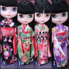 Etsy のkimono Blythe,Monster high,Licca Takara BJD Doll.(ショップ名:japonsakura)