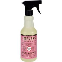 Mrs. Meyers Multi Surface Spray Cleaner is good for almost any cleaning task you can think of. It safely and effectively cleans floors, counters, and surfaces in bathrooms and kitchens. The formula is