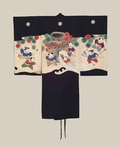 Boy's Miyamairi Kimono, Meiji era (1868-1911). This boy's miyamairi (Shinto christening) silk kimono features unusual karako children motifs created with the yuzen resist-dye technique. Five large mon (family crests). The Kimono Gallery
