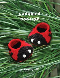 Ladybird Booties Crochet PATTERN, SYMBOL DIAGRAM (pdf)