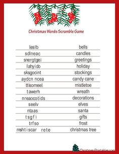 free printable christmas games christmas word games