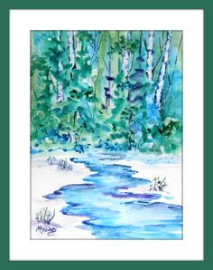 COLORADO BLUES Watercolor on gesso - Purchase Info I always LOVE painting with cool shades of blue and green and the slic. Watercolor Trees, Watercolor Landscape, Watercolor Paper, Watercolor Paintings, Watercolors, Love Painting, Painting Frames, Living In Colorado, Aspen Trees