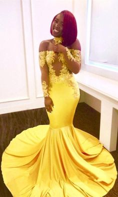 $159-Bright Yellow Mermaid Prom Dresses_Sexy Sheer Appliques Evening Gowns