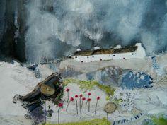 'A patchwork meadow'detail  by Louise O'Hara of Drawntostitch www.drawntostitch.com