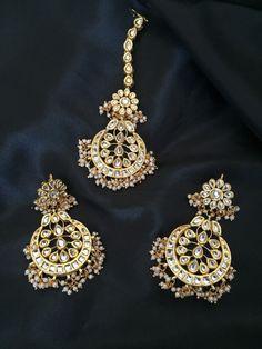 Kundan earrings and tikka set Imitation jewelry by InthePitara