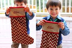 So styling with the chevron stripes! Get these beautiful personalized stockings at more than 50% off #christmas #stocking
