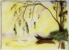 """Пейзаж ручной работы. """"Туманное утро"""" Картина из шерсти. Юлия Филипкова. Интернет-магазин Ярмарка Мастеров. Шерсть, тепллые картины"""