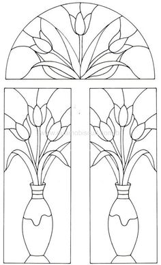 Coloring page of stained glass (tulips)