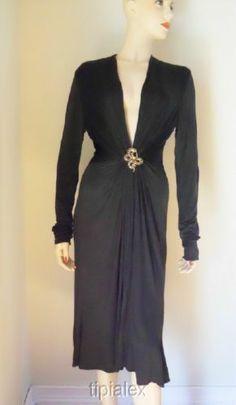 259d3034be44 New Roberto Cavalli Sultry Black Deep V Neck Dress Sz 44 | eBay Deep V Neck