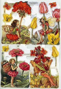 SCRAP RELIEFS SET Bright Flower Fairies par OneDayLongAgo sur Etsy