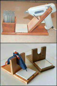 25 +> Keep your glue gun and workstation clean by using your own DIY glue gun holder ., Keep your glue gun and workstation clean by holding your own DIY glue gun holder . own # glue # glue gun. Antique Woodworking Tools, Woodworking For Kids, Woodworking Projects That Sell, Popular Woodworking, Woodworking Crafts, Woodworking Plans, Woodworking Furniture, Woodworking Tutorials, Wood Furniture