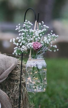 2 Hanging Mason jars with garden stand for wedding aisle includes flowers and li… - Decoration Jar Centerpieces, Wedding Centerpieces, Wedding Table, Diy Wedding, Rustic Wedding, Wedding Ceremony, Wedding Decorations, Wedding Desert, Wedding Venues