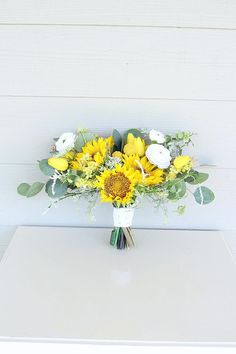 Sunflower Wedding Bouquet by Southern Girl Weddings Real Flowers, Wild Flowers, Wedding Looks, Wedding Day, Eucalyptus Bouquet, Yellow Tulips, Queen Annes Lace, Wedding Mood Board, Cream White