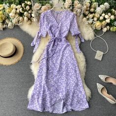 Chiffon Floral, High Neck Bikini Set, Long Midi Dress, Bohemian Style Dresses, Robes Midi, Beach Dresses, V Neck Dress, Purple Dress, Fashion Dresses