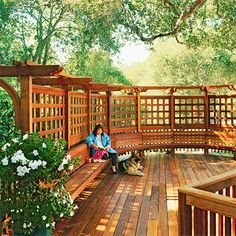 Curved Trellis  A need for privacy inspired this curved trellis sitting area (the property overlooks a neighbor's two-story home at street level). Acting as a wall, the trellis provides separation from the outside world without impeding daylight or airflow. A built-in bench follows the curve of the trellis and establishes the space as a destination for relaxation.