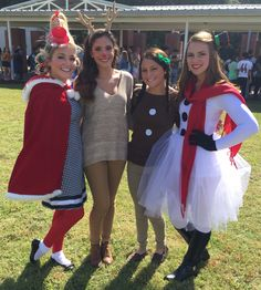 DIY snowman, gingerbread, reindeer, and Cindy Lou Who costumes