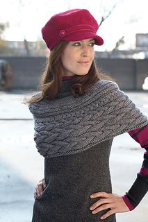 Gorgeous shrug combining 3 different scales of the same braided cable.  Shown in Patons Shetland 0803a54ccf8