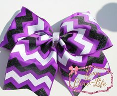 Purple, Glitter White and Glitter Black Cheer Bow by LivinTheBowLife on Etsy