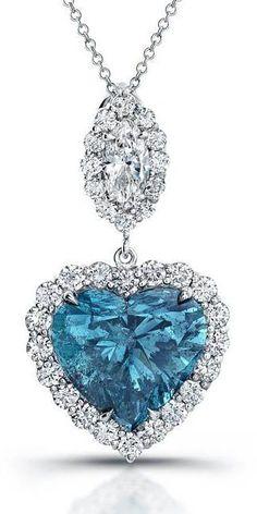 Blue Heart Diamond N beauty bling jewelry fashion Blue Diamond Necklace, Diamond Heart, Diamond Jewelry, Diamond Necklaces, Solitaire Diamond, Gems Jewelry, I Love Jewelry, Fine Jewelry, Heart Jewelry