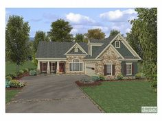 Craftsman Home Plan-change shower mb, bath up w big bonus instead of 2, also fp in nook