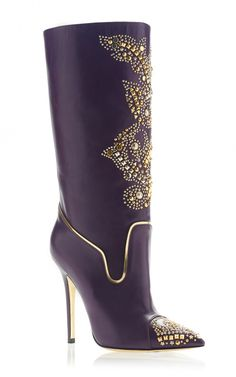 A cowboy boot, a bedazzler, and a Manolo style pointy toe = this Versace Studded Boot. #shoeoftheday