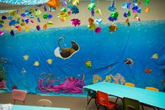 Whimsical underwater decoration ideas for the Preschool Tide Pool at Shipwrecked VBS. Explore more decoration ideas at Concordia Supply!