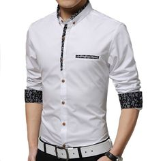 New 2016 Men's Shirts Men Brand Dress Slim Fit Designer Cotton Casual Chemise Homme White/blue Fashion Social Camisa Masculina Stylish Shirts, Casual Shirts For Men, Men Casual, Style Africain, Mens Clothing Styles, Trendy Clothing, Clothing Accessories, Clothing Ideas, Men's Clothing