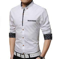 Shirt men 2015 new men Slim casual long-sleeved shirt solid color floral fashion hit color shirt large size men M-5XL