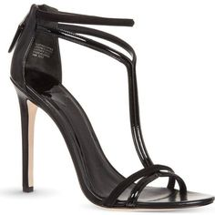 B BY BRIAN ATWOOD Lydia patent strappy sandals (€140) ❤ liked on Polyvore featuring shoes, sandals, heels, black, black strap sandals, ankle strap sandals, black sandals, ankle strap shoes and black patent leather sandals #brianatwoodheelspatentleather #brianatwoodheelsstrappysandals