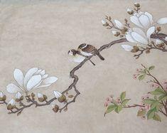 자동 대체 텍스트를 사용할 수 없습니다. Korean Painting, Japanese Painting, Chinese Painting, Chinese Art, Japanese Art, Botanical Art, Botanical Illustration, Wall Painting Decor, Fairy Pictures