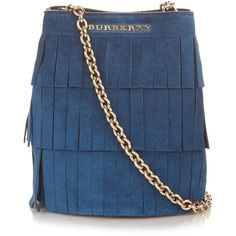 Burberry London Mini fringed suede bucket bag (€715) ❤ liked on Polyvore featuring bags, handbags, shoulder bags, blue, fringe bucket bag, burberry purses, crossbody purse, crossbody shoulder bags and crossbody handbags