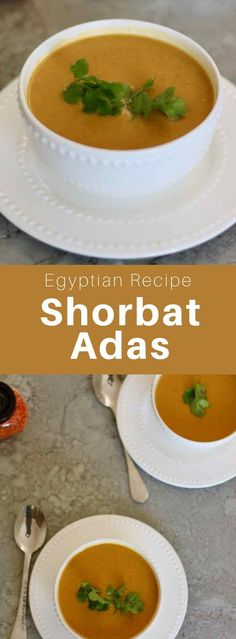 Shorbat adas is a vegan lentil soup from Egypt that is prepared with cumin. It is the staple meal of the month of Ramadan. Iftar, Healthy Hearty Soup, Soup Recipes, Vegetarian Recipes, Healthy Recipes, Vegan Lentil Soup, Egyptian Food, Egyptian Recipes, Recipes