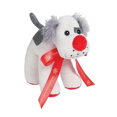 Plush Dog with Personalized Holiday Ribbon - OrientalTrading.com