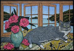 Rachel Newling (Australian contemporary artist and printmaker) - Still life with cat - Hand coloured linocut on handmade Japanese paper