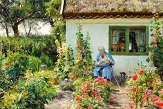 Peder Mørk Mønsted Reading the newspaper in the garden, 1936 Paintings I Love, Beautiful Paintings, Garden Painting, Garden Art, Amber Tree, Cottage Art, Hollyhock, Painting Lessons, Bunt