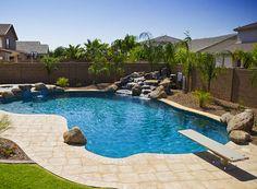 Gallery of Swimming Pool Design Photos — Presidential Pools, Spas & Patio of Arizona Inground Pool Designs, Swimming Pool Designs, Pools Inground, Backyard Pool Landscaping, Backyard Pool Designs, Swimming Pools Backyard, Landscaping Ideas, Acreage Landscaping, Backyard Ideas