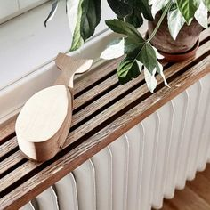 diy radiator-shelf-made-wood-slats-for-chic-and-natural-room-design – fresHouse Wood Slats, Scandinavian Home, Decor, Home Radiators, Doors And Floors, Old Wooden Doors, Swedish House, My Scandinavian Home, Radiator Cover