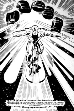 The Silver Surfer emerging from Galactus' hand - art by Jack Kirby Marvel Comic Books, Marvel Art, Comic Book Heroes, Marvel Dc Comics, Comic Books Art, Comic Book Artists, Comic Artist, Surfer D'argent, Jack Kirby Art