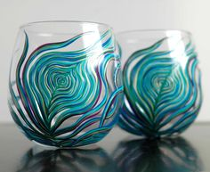 Peacock Stemless Glasses-Set of 2 by Mary Elizabeth Arts >> Beautiful and wonderfully talented!