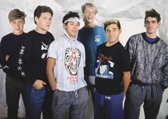 The original Bones Brigade. Left to right: Rodney Mullen, Mike McGill, Tommy Guerrero, Tony Hawk, Steve Caballero, Lance Mountain. Check out the film Bones Brigade An Autobiography to see the beginning of their careers and what they went through professionally and personally. http://skateshoereviews.com/bones-brigade-an-autobiography-review