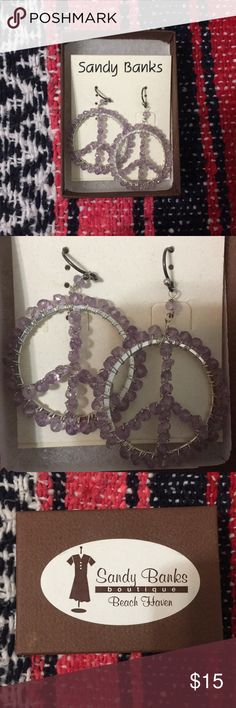 Peace Sign Earrings NWT! Never worn, given as a gift. Beaded peace sign earrings form a boutique near home. Jewelry Earrings