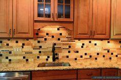 Brown glass subway travertine backsplash tile kitchen for Kitchen cabinets 08054
