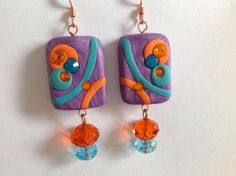 Polymer Clay earrings Purple Pop purple earrings by HKayDesigns, $11.00