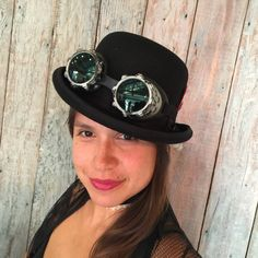 Our Steampunk Cyber Goggles and Bowler Hat. Great for Steampunkers and those dressing up Steampunk for Halloween. Goggles- $22.95 Bowler Hat- $49.95