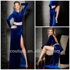 Blue Velvet Bridesmaid Dresses   Blue Open Back Velvet Floor Length Beaded Long Sleeve Evening Dress ...